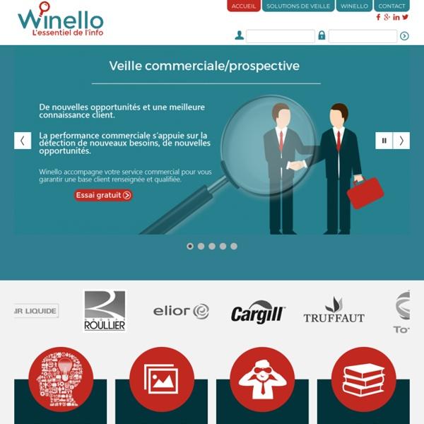 Winello veille sur vos concurrents, votre réglementation, marché, veille sectorielle, veille image, eréputation, market intelligence, veille stratégique, veille concurrentielle