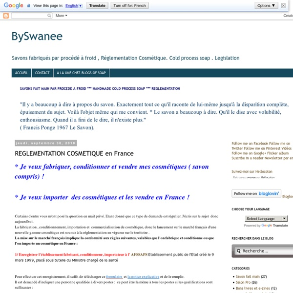 BySwanee: REGLEMENTATION COSMETIQUE en France
