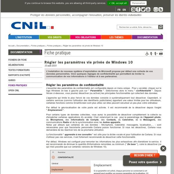 Régler les paramètres vie privéede Windows 10 - CNIL - Commission nationale de l'informatique et des libertés