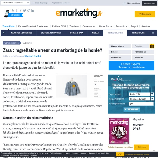 Zara : regrettable erreur ou marketing de la honte?