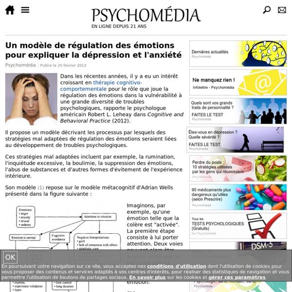 Un modèle de régulation des émotions pour expliquer la dépression et l'anxiété