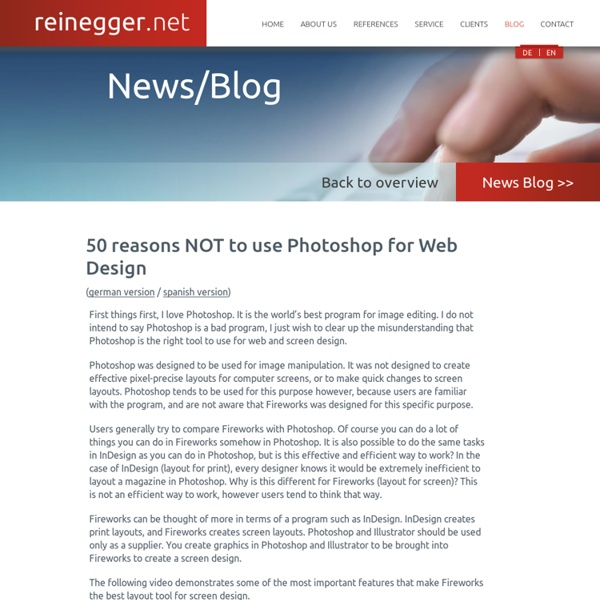 50 Reasons not to use Photoshop for Webdesign