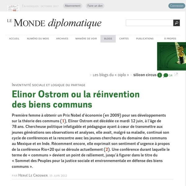 Elinor Ostrom ou la réinvention des biens communs