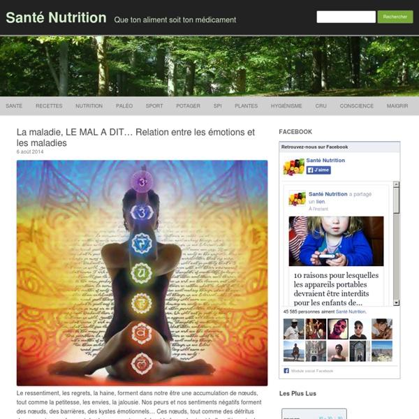 La maladie, LE MAL A DIT... Relation entre les émotions et les maladies - Santé Nutrition