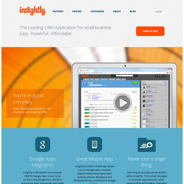 Free CRM for Small Business: Online Customer Relationship Software - Insightly