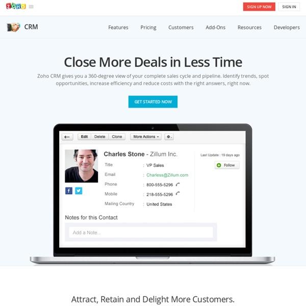 CRM Software, Customer Relationship Management - Zoho CRM