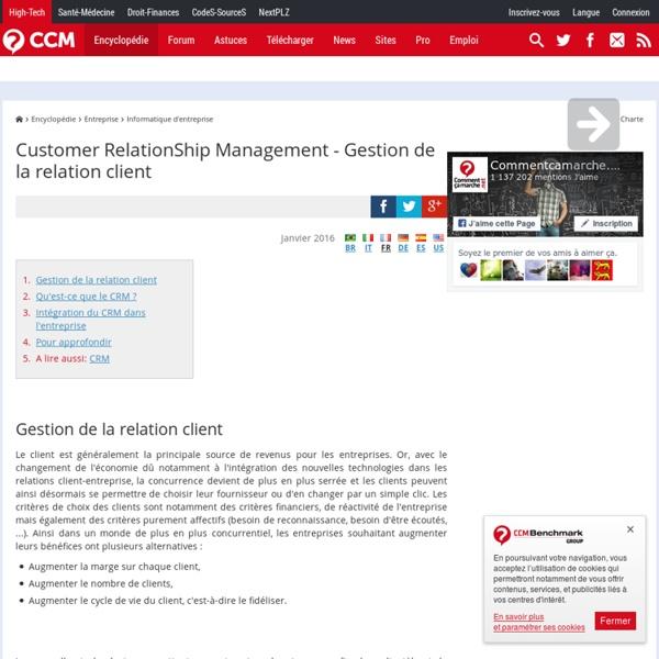 Customer RelationShip Management (CRM) - Gestion de la relation