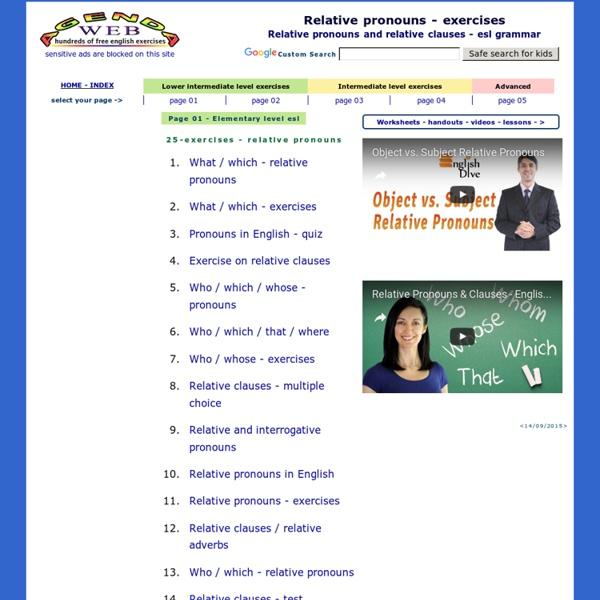 Relative pronouns exercises - relative clauses