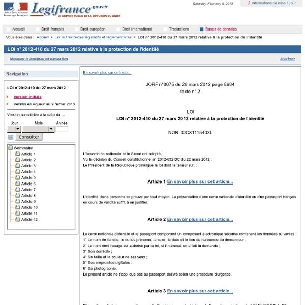 Loi 27 mars2012