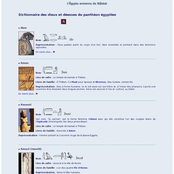 La religion égyptienne, dieux et déesses (A)