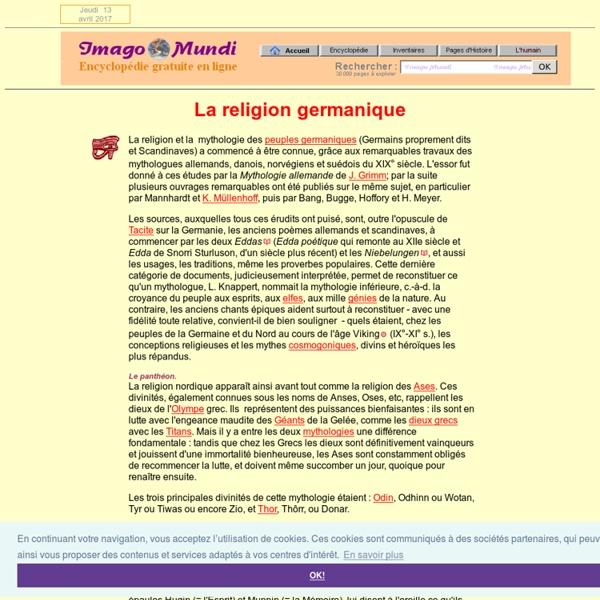 La religion et la mythologie nordiques.