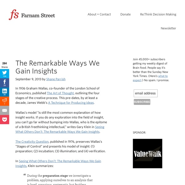 The Remarkable Ways We Gain Insights