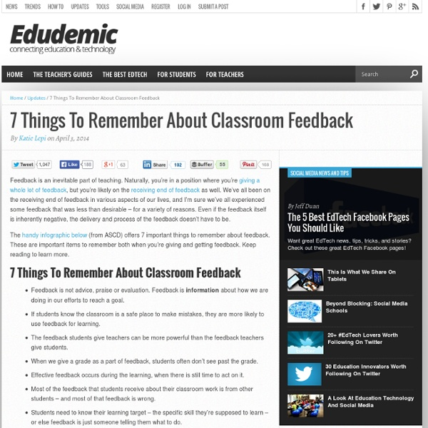 7 Things To Remember About Classroom Feedback