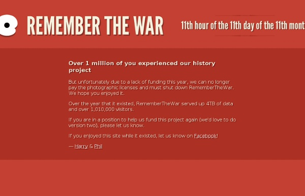 Remember the War - Remembering our heroes - 13th November 2011