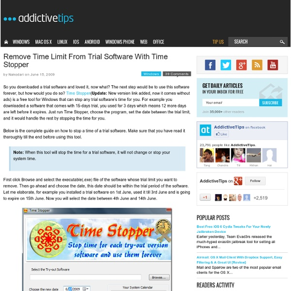 Remove Time Limit From Trial Software With Time Stopper