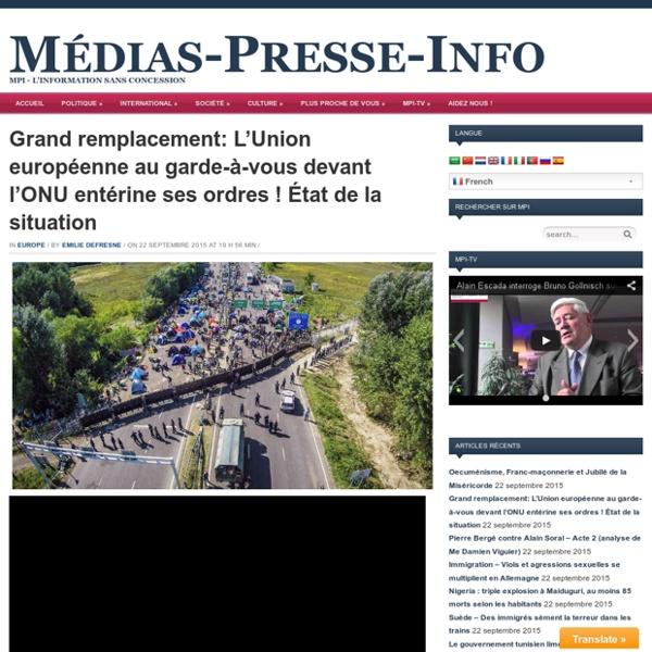 Grand remplacement: L'Union européenne au garde-à-vous devant l'ONU entérine ses ordres ! État de la situation
