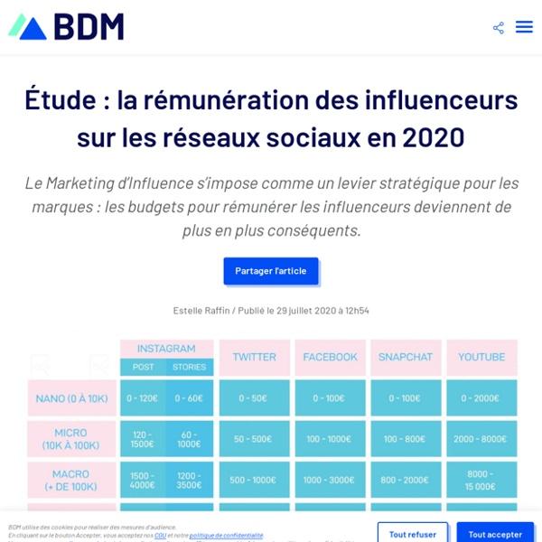 Étude : la rémunération des influenceurs sur les réseaux sociaux en 2020 - BDM