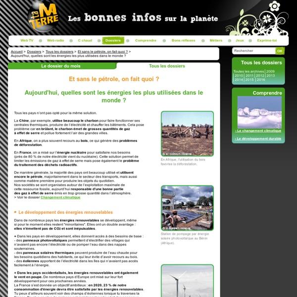 Energies fossiles, énergies renouvelables : répartition dans le monde