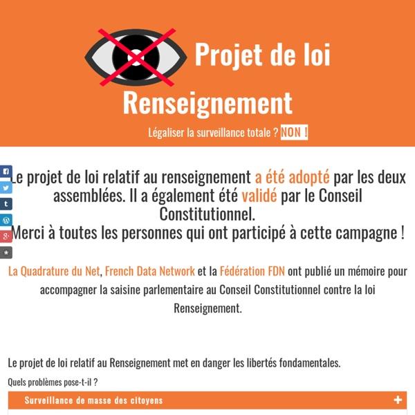 Projet de loi relatif au Renseignement : agissons contre la surveillance de masse !