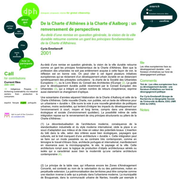 De la Charte d'Athènes à la Charte d'Aalborg: un renversement de perspectives