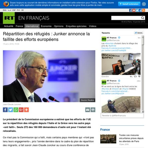 Répartition des réfugiés : Junker annonce la faillite des efforts européens