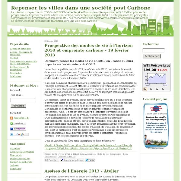 Repenser les villes dans une société post Carbone