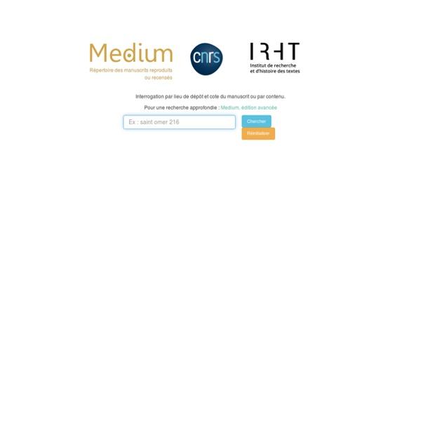 Base de données Medium (reproductions, manuscrits, manuscripts, microfilms, CNRS, IRHT)