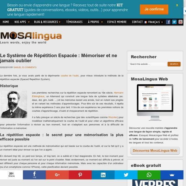 Le Système de Répétition Espacée : Mémoriser et ne jamais oublier - Apps pour apprendre rapidement l'anglais, l'espagnol, l'italien, l'allemand et le portugais sur iPhone, iPad, Android