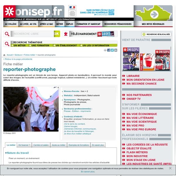 Reporter photographe pearltrees for Statut photographe