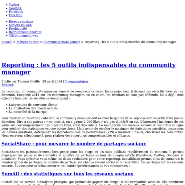 Reporting : les 5 outils indispensables du community manager