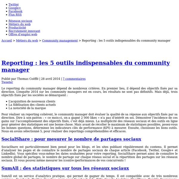 Reporting : les 5 outils indispensables du community manager - Blog du Modérateur