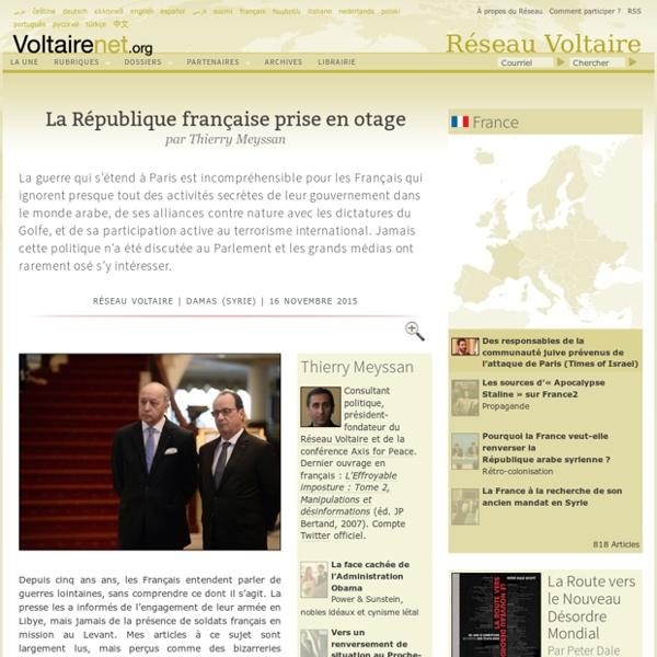 La République française prise en otage, par Thierry Meyssan