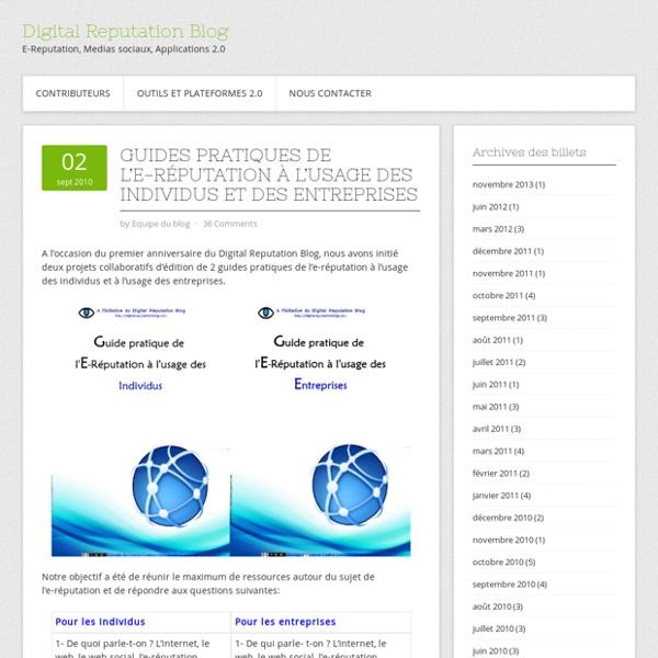 Guides Pratiques de l'E-Réputation à l'usage des individus et des entreprises