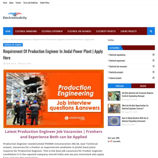 Requirement Of Production Engineer In Jindal Power Plant
