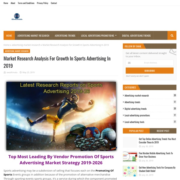 Market Research Analysis For Growth In Sports Advertising In 2019