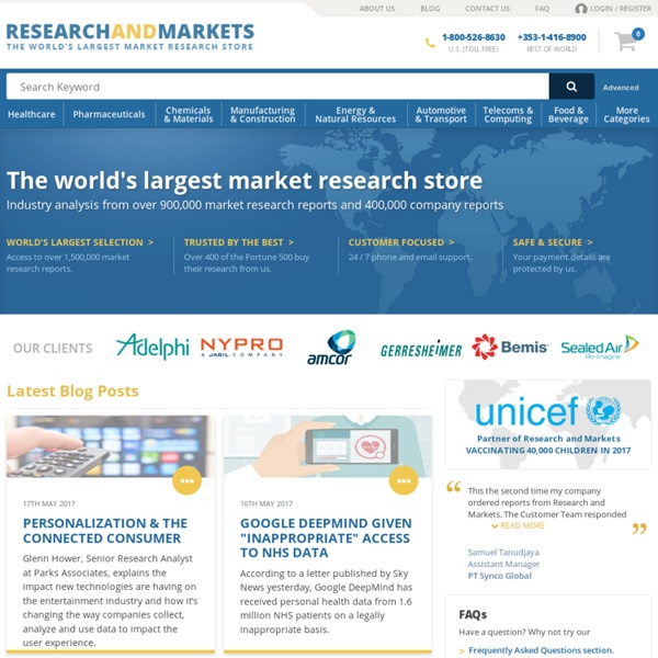 Research and Markets - Market Research Reports - Welcome