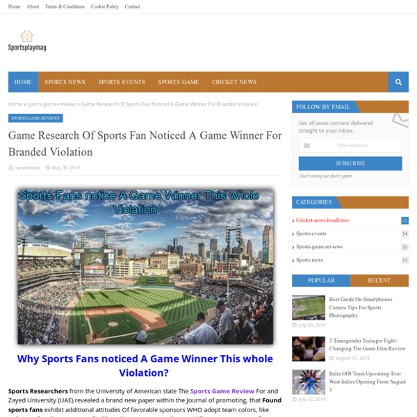 Game Research Of Sports Fan Noticed A Game Winner For Branded Violation