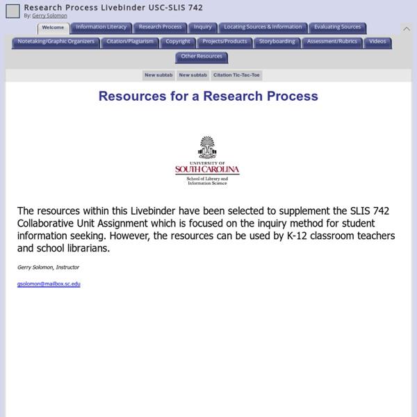 Research Process Livebinder USC-SLIS 742