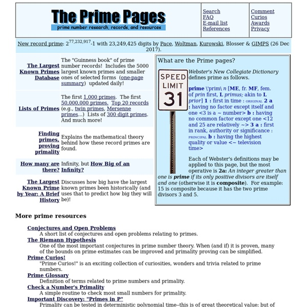 The Prime Pages (prime number research, records and resources)