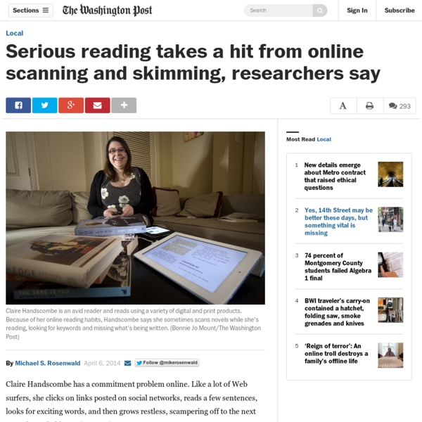 Serious reading takes a hit from online scanning and skimming, researchers say