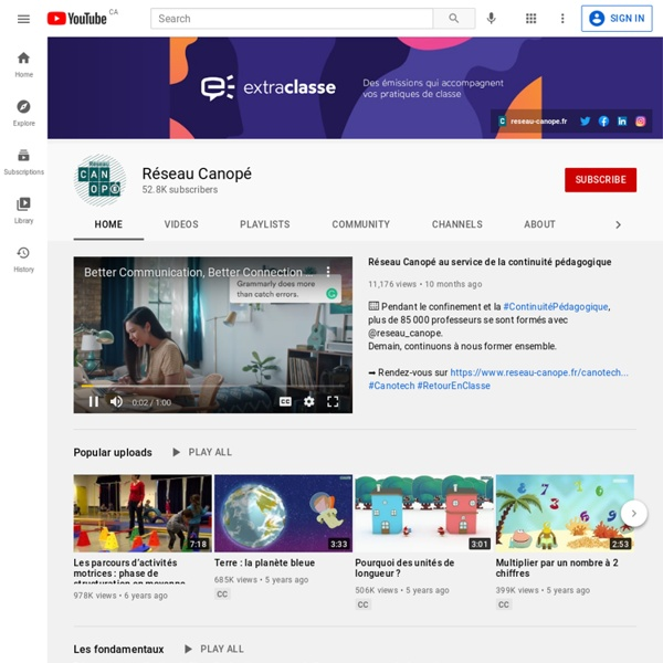 Chaîne Youtube Réseau Canopé