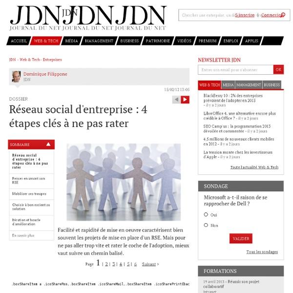 Réseau social d'entreprise : 4 étapes clés à ne pas rater - Journal du Net Solutions