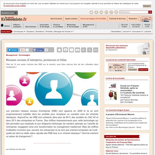 Réseaux sociaux d'entreprise, promesses et bilan