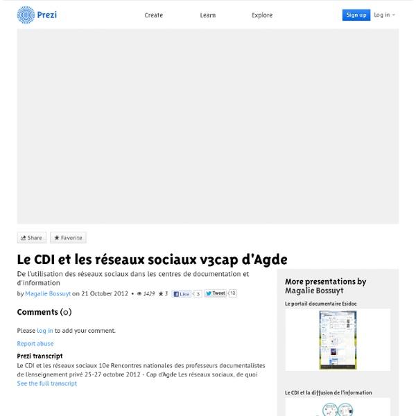 Le CDI et les réseaux sociaux v3cap d'Agde by Magalie Bossuyt on Prezi