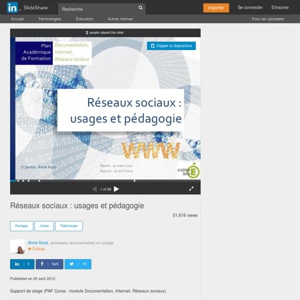 Réseaux sociaux : usages et pédagogie
