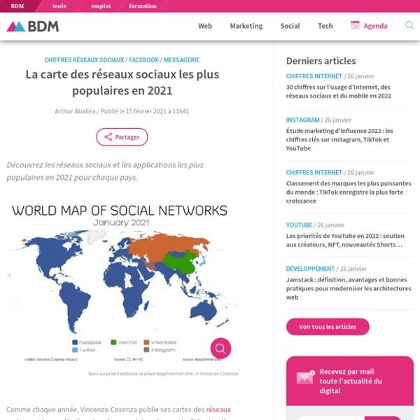 Carte des réseaux sociaux les plus populaires en 2021