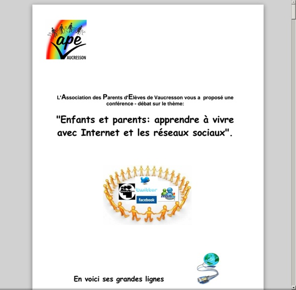Ape.vaucresson.free.fr/Enquete/ReseauxSociaux.pdf