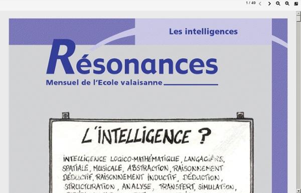 Dossier sur les intelligences in Résonances, mensuel de l'Ecole valaisanne