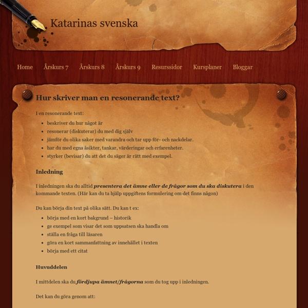 Resonerande text - Katarinas svenska