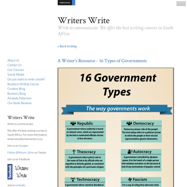 A Writer's Resource - 16 Types of Governments
